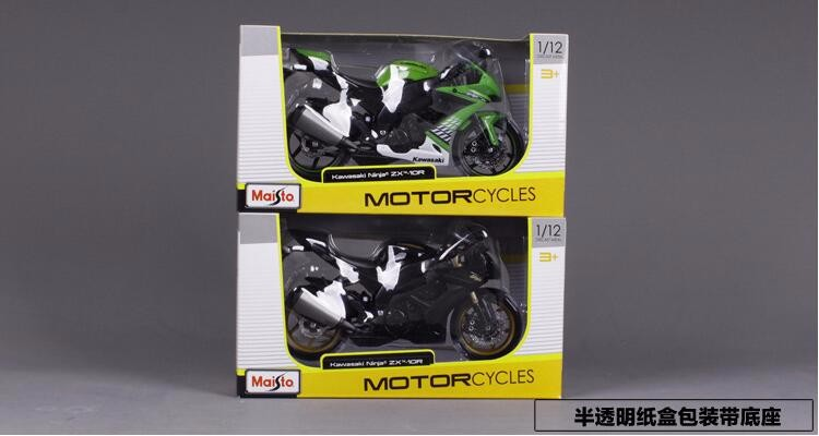 1:12 Kawasaki ZX-10 Motorcycle Diecasts Models Alloy for Collections Decoration Toys for Children Green/Black