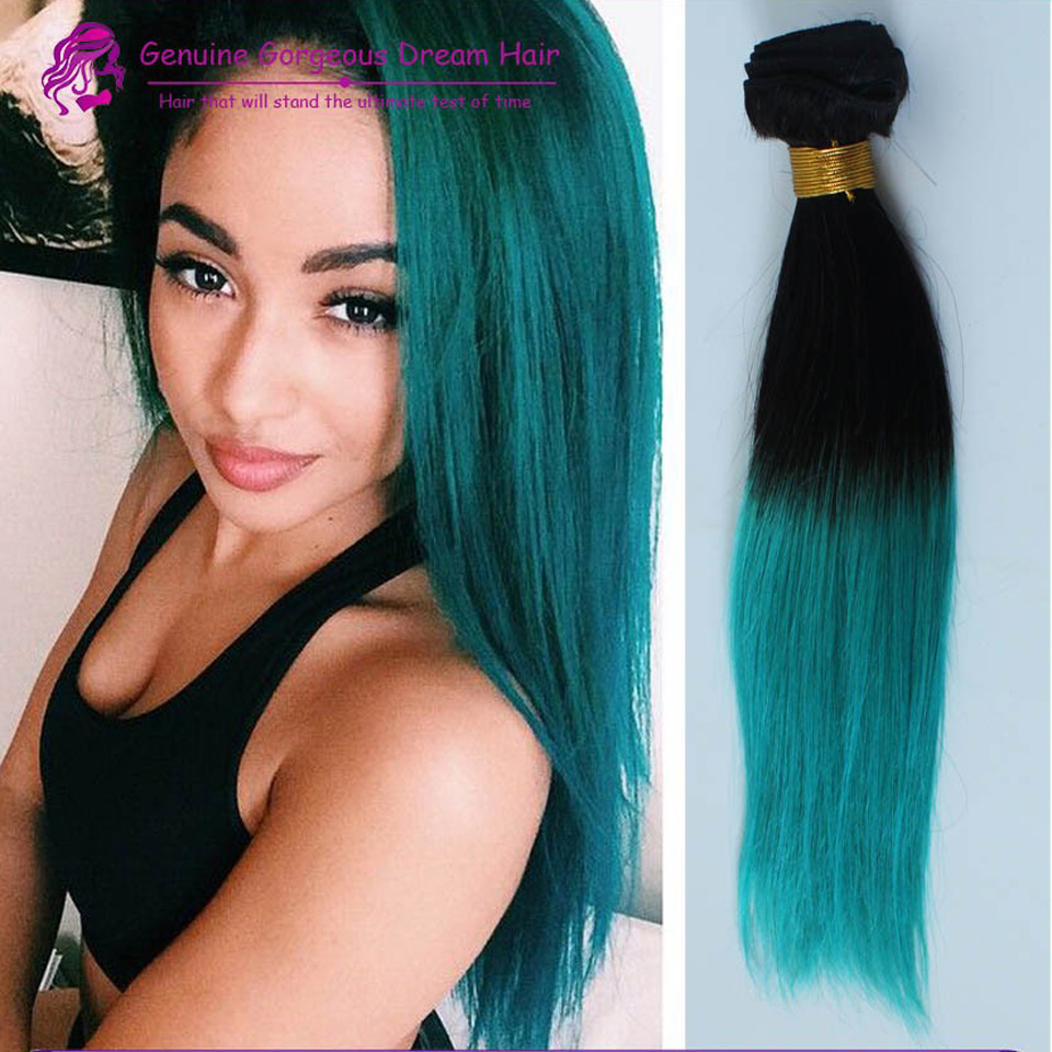 Colorful 1bgreen Ombre Hair Extensions3 Bundles Black And Green