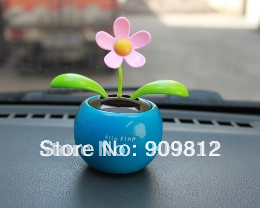 Free Shipping Solar apple flower, Flip flap solar flower, Swing sunflowers, Solar Toy, Car accessories, 5 color 65g 100pcs/lot(China (Mainland))