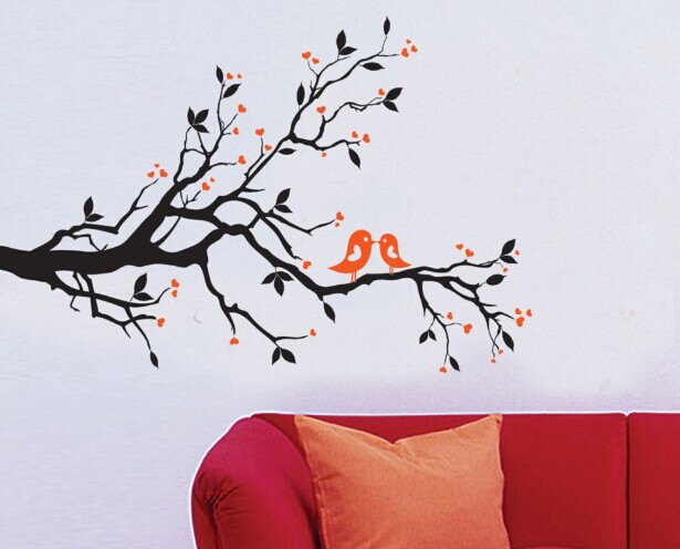 The branches birds living room bedroom wall sticker removable decorative wall stickers(China (Mainland))