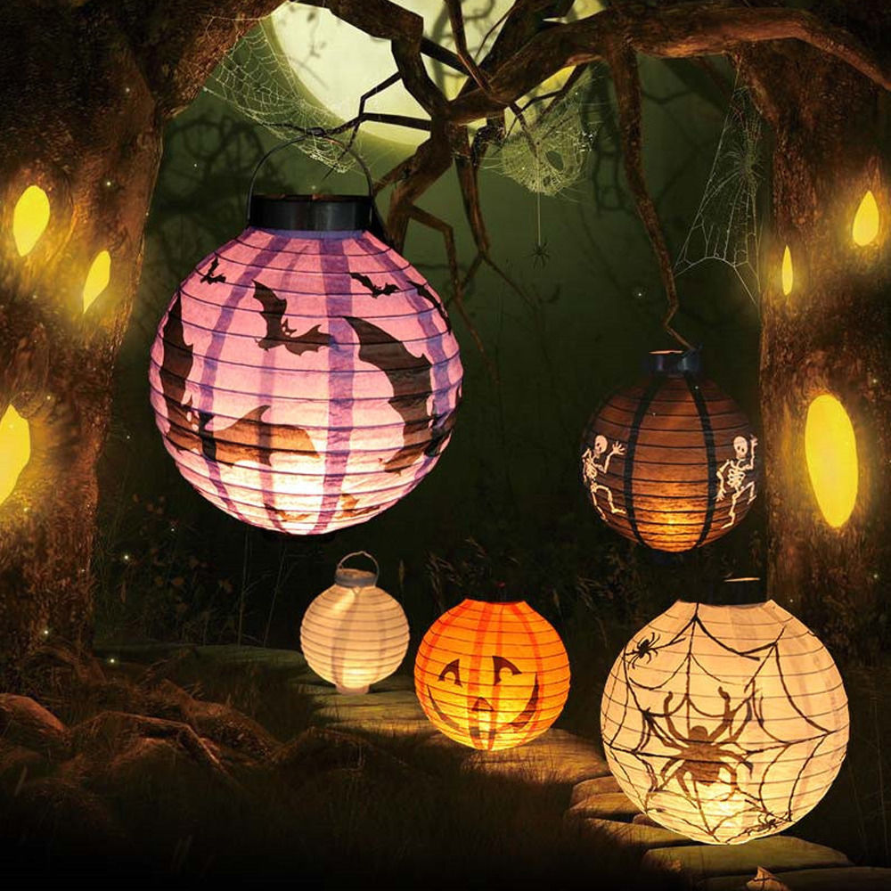 Halloween Hot Sale LED Paper Pumpkin Ghost Hanging Lantern Light Holiday Party Halloween Decor Free Shipping(China (Mainland))