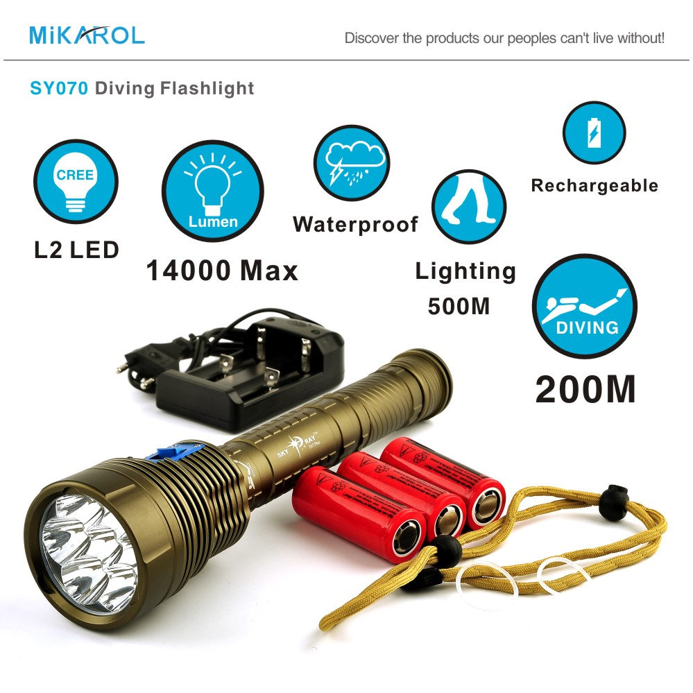 2015 New Arrival 14000 Lumen 7 x Cree L2 LED Lantern Diving Flashlight Light Dive Torch Lamp Underwater LED Flash Light Lanterna(China (Mainland))
