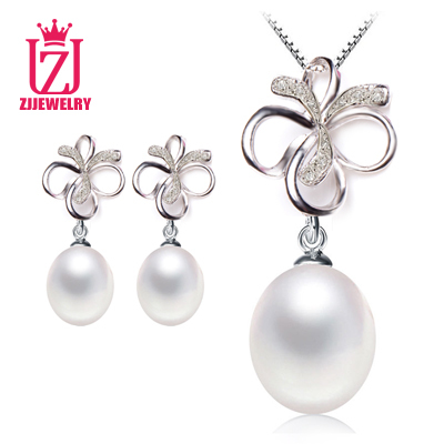 Гаджет  ZJJEWELRY 100% genuine freshwater pearl jewelry set, pearl necklace and earrings for women white top quality None Ювелирные изделия и часы