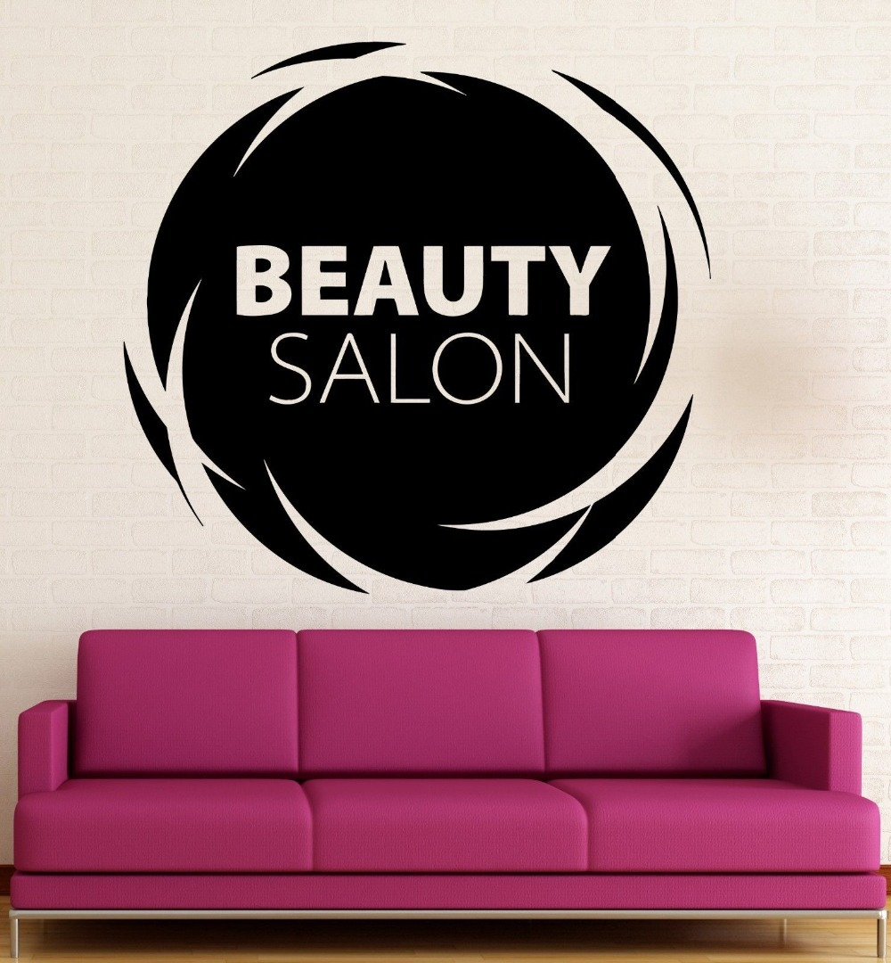 beauty salon wall stickers hair spa woman salon logo. Black Bedroom Furniture Sets. Home Design Ideas