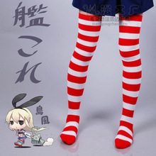 Kan collection anime cosplay accessories Stockings cos red+white stripe soft over-the-knee Stockings
