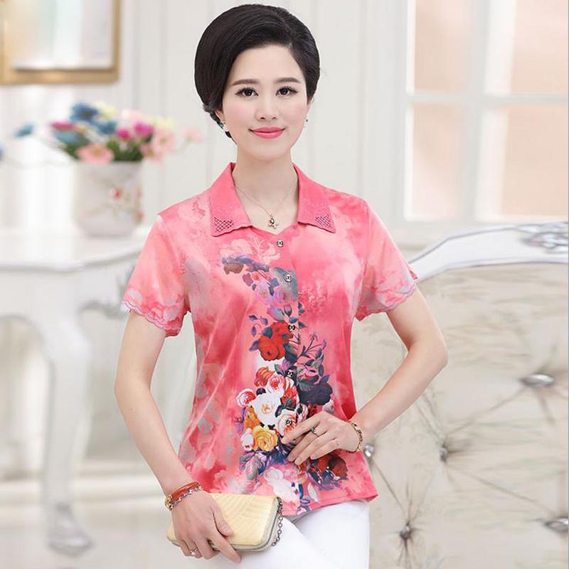 2016 Summer Womens Shirt short Sleeves Print High Qulity Brand clothing Silk camisa feminina Plus Size XL-4XL vetement femme Одежда и ак�е��уары<br><br><br>Aliexpress