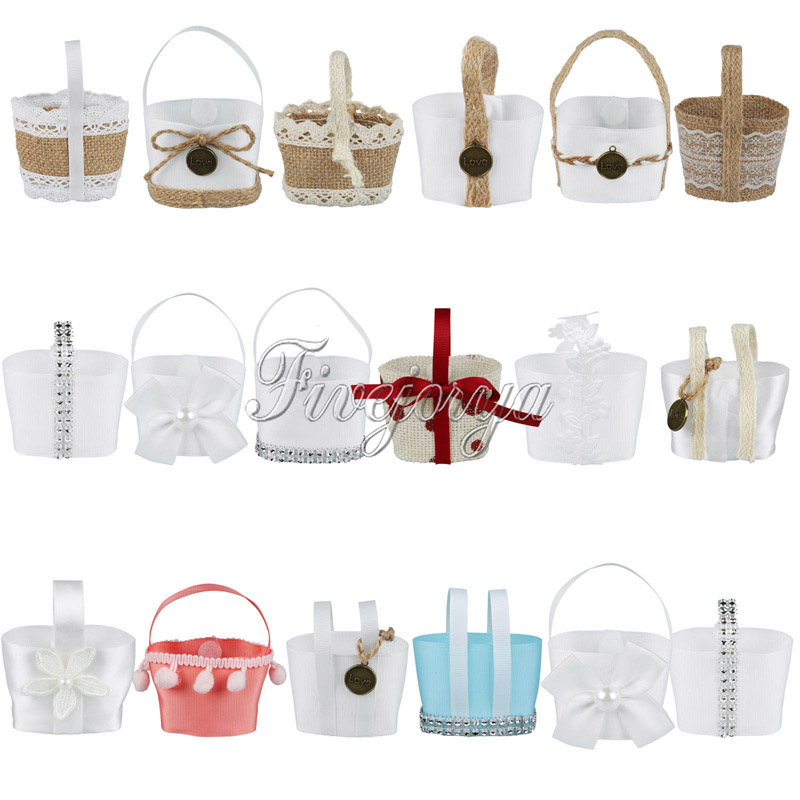 10Pcs Lovely Mini Wedding Candy Basket Candy Boxes Hanging Flower Basket Wedding Favor Pouch Bags Kids Birthday Gifts Decor(China (Mainland))