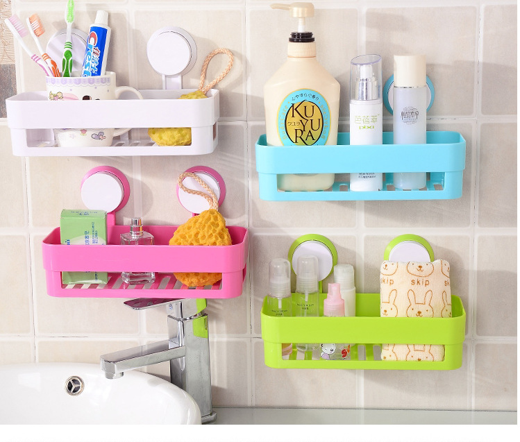 Kitchen Bathroom Storage Shelf Wall Double Suction Cup