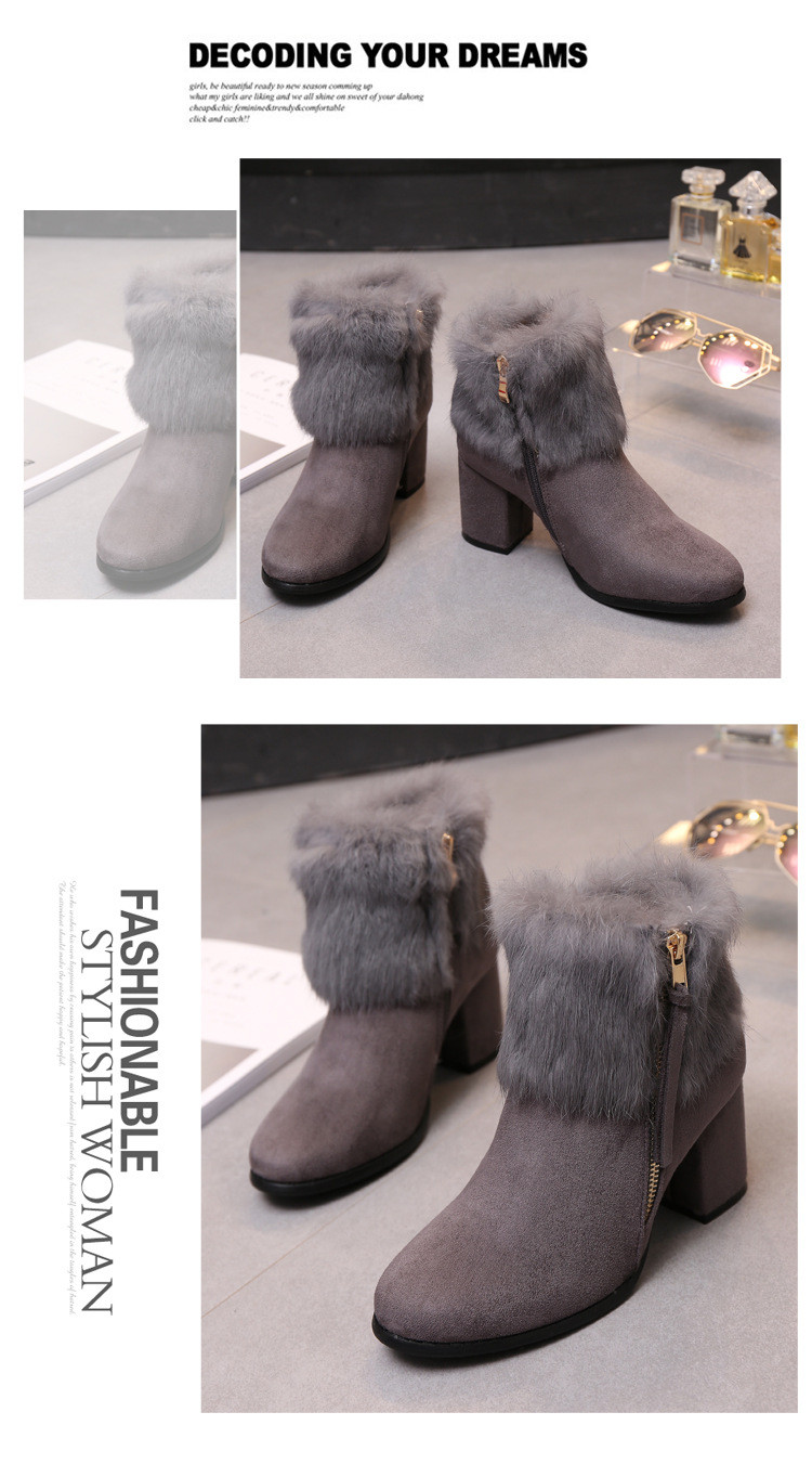 Rabbit Fur Winter Style Female Korean Matte Leather Black Chunky High Heeled Booties Womens Snow Boots Sale Free Shipping