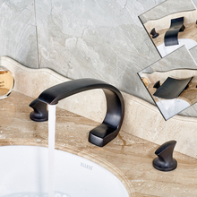 Buy Oil Rubbed Bronze Waterfall Spout Widespread Basin Faucet 3pcs Dual Handle Bathroom Sink Mixer Tap for $89.70 in AliExpress store