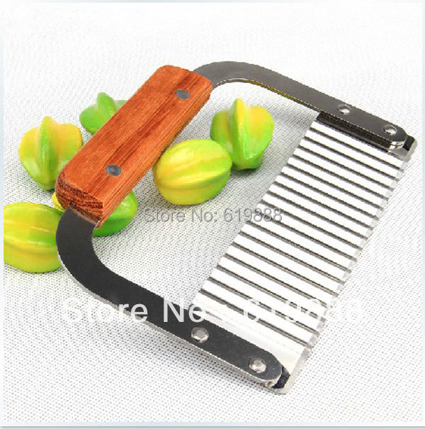 Wooden Handle Corrugated Ripple Wave Knife French Fries Knife Pastry Handmade Soap Cutting Device Potato Cutter Cake Tools(China (Mainland))