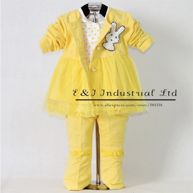 2015 Autumn New year character Children clothing set 3PCS Yellow Lace Girl Jacket And Hoodies And Children Pant With Rabbit Kids
