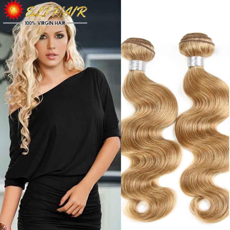 27# Color Honey Blonde Brazilian Hair Weave Bundles 3 pieces Lot Brazilian Body Wave Human Hair Extensions(China (Mainland))