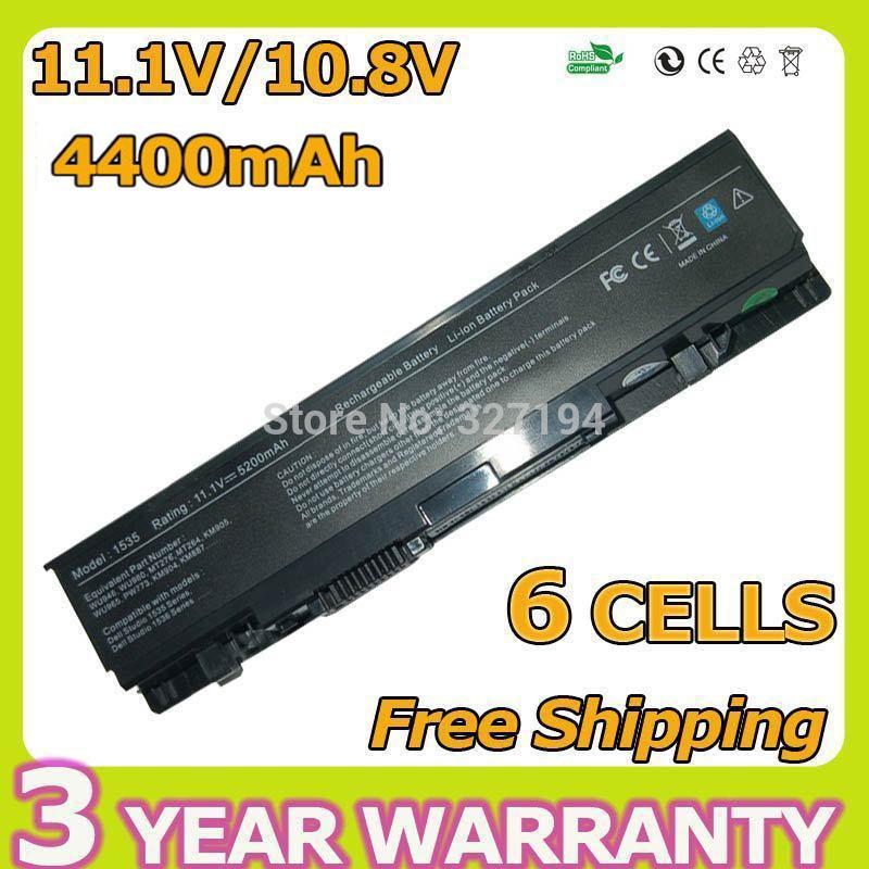 5200mah 11.1v  laptop battery for dell KM958 KM965 MT264 WU946 Studio 1535 1536 1537 1555 1557 1558 PP33L PP39L 312-0701 6 cells<br><br>Aliexpress