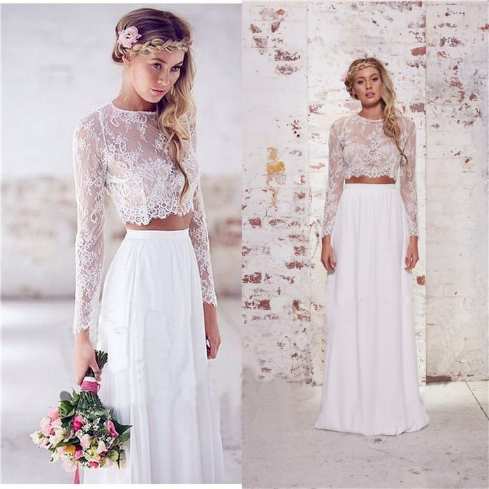two piece lace wedding dress