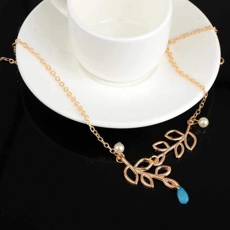 wholesae jewelry simple cross leaves pearl