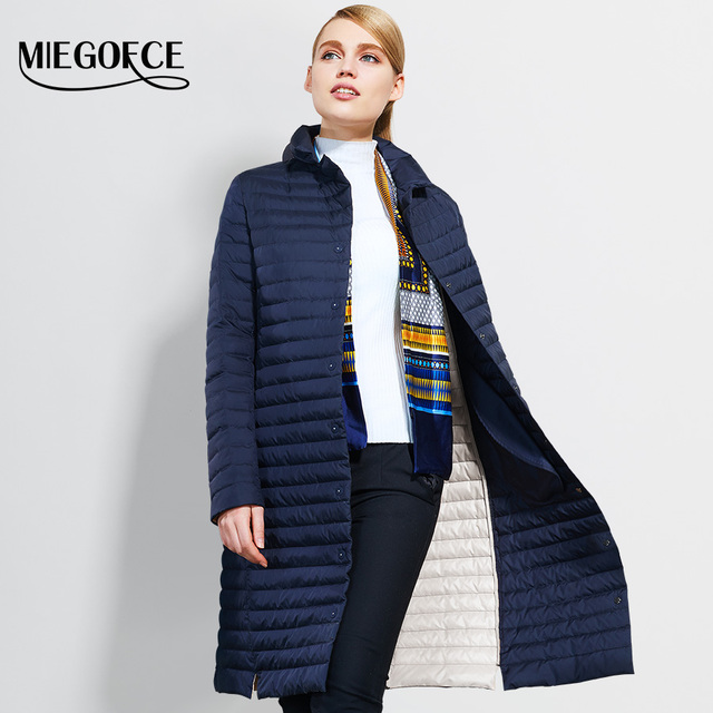 2017 Thin Women Quilted Parkas Long Women Cotton Padded Jacket Spring Windproof Womens Spring Jackets Coats New Design MIEGOFCE