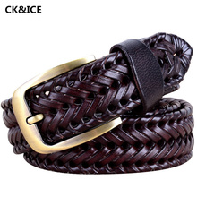 Buy Hot 2017 Mens Designer Belts Fashion Braided Cow Split Leather male Belt Casual All-Match Pin Buckle Belt Leather man for $17.40 in AliExpress store