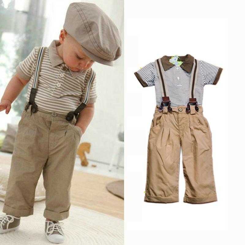 2pcs Baby boy clothes striped polo shirt+overalls kids clothes boys tracksuit summer toddler boys clothing set children outifts(China (Mainland))