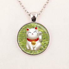 Wholesale animal glass cabochon black cat pendant necklace cat jewelry glass cabochon dome pendant