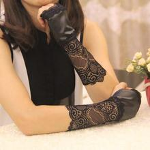 Women Leather Lace Gloves Winter Short Arm Warmer Sexy Long Glove FIngerless Car Glove Black(China (Mainland))