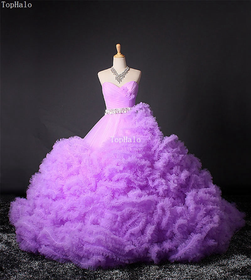 Purple Ball Gown Luxury Crystal Wedding Dress Custom Bride Photo Costumes Bridal Gowns Dresses