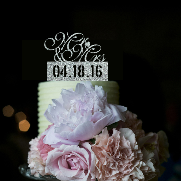 Acrylic Silver Glitter Customize Date Wedding Cake Topper, Personalized Mr&Mrs Cake Topper for Couple Wedding Deco Casamento(China (Mainland))