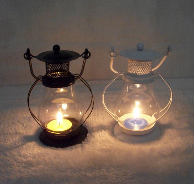European Garden Glass Iron Lantern Candle Lantern kerosene lamp Home Furnishing decoration creative Candle Holders Candlestick(China (Mainland))