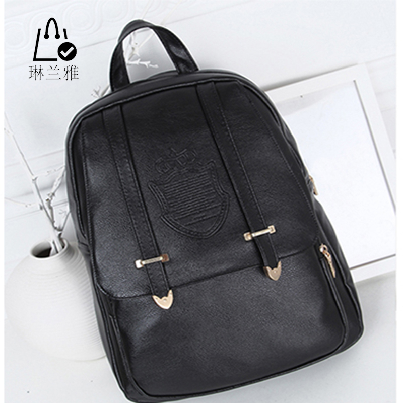 2016 new College Style PU Leather Backpack black Travel Bag Fashion Backpacks Embossing Lady high quality solid Bag Z-119(China (Mainland))