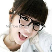 Fashion Retro Glossy Lady Girl Big Clear Lens Black Frame Large Glasses A914 Free Shipping qiFU2d