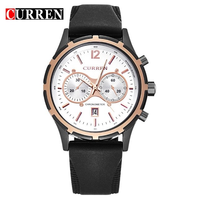 Top Luxury Brand CURREN 8066 famous brand men Round Dial Rubber Band Men's Wrist Watch with Calendar(China (Mainland))