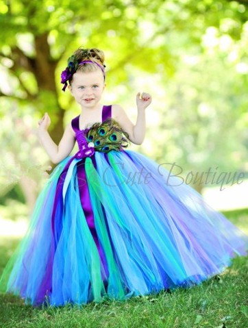 Children's Clothing 6 - 8 year Girl Performance Clothing Birthday Beautiful Peacock Feather Personality Dress With Headdress(China (Mainland))