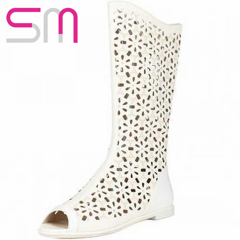 Genuine Leather Open toe Rhinestone Cutouts Mid Calf Boots Summer Boots 2015 Flat Heels Boots Summer Style Women Shoes Woman