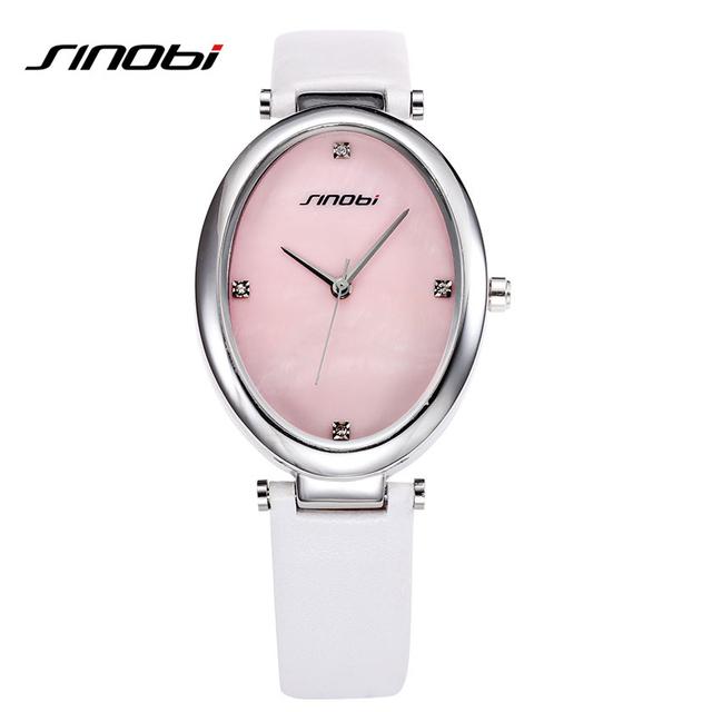 Sinobi золото женская дамы кварцевые мода водонепроницаемые часы роскошные овальные кожаный ремешок Relogio Feminino японии 2035 Movt