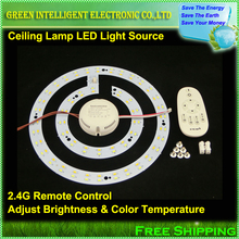 220V smd 5730 chip led ceiling lamp + 2.4G remote control driver adjustable double color temperature and brightness,1set/lot(China (Mainland))