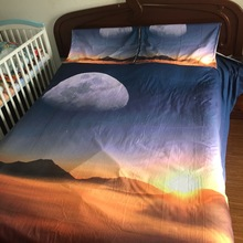 JF-114 Natural Scenery moon mountain sunset 3d bedding set Super king size bed linen 4pcs queen duvet cover set single sheet(China (Mainland))