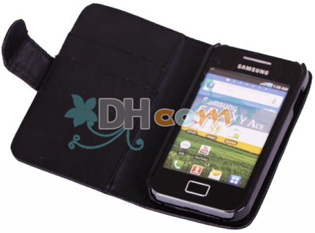 Galaxy ace S5830 Black wallet case with credit card holder,10pcs/lot Ship by China post air mail(China (Mainland))