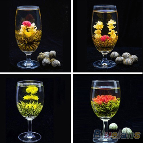 4 Balls Chinese Artisan Different Handmade Blooming Flower Green Tea 1F95