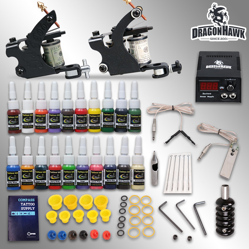Professional tattoo kit 2 guns machines 20 ink sets power supply D175GD-8(China (Mainland))