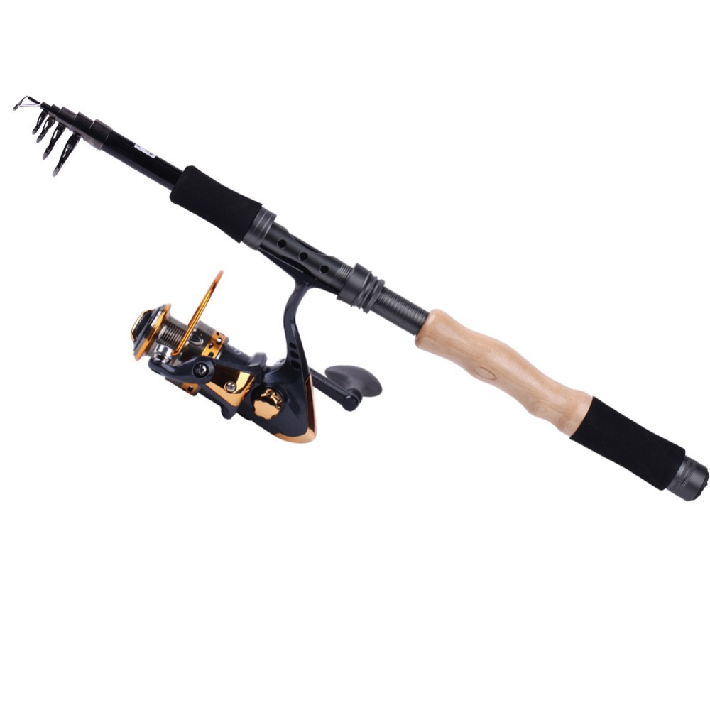 Telescopic travel top fishing rod with spinning reel combo for Best telescoping fishing rod