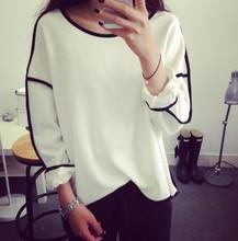 2014 New Trends All-match Sweatshirt Geometry Design Loose And Long Sleeve Winter Sweatshirt Women Hoody 3 Colors