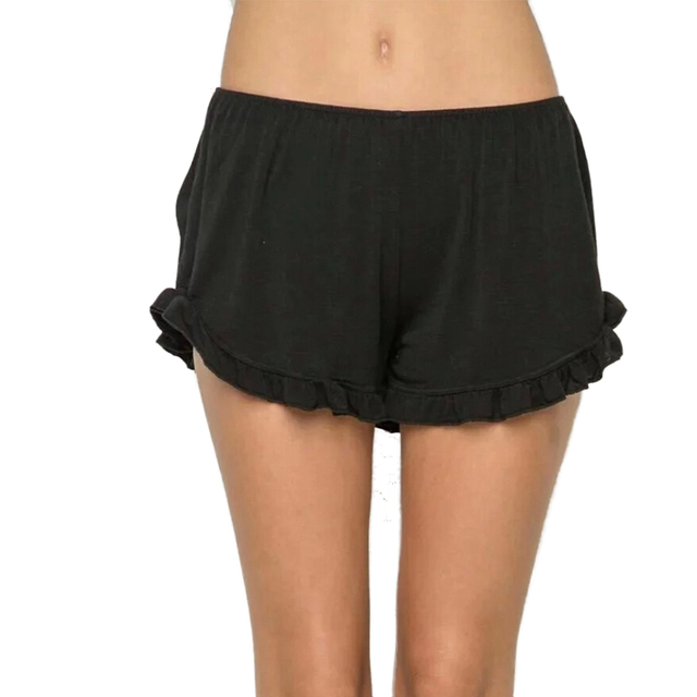 Женщины базовая твердые оборками один размер шорты эластичный пояс 6 цвета дамы летняя ...