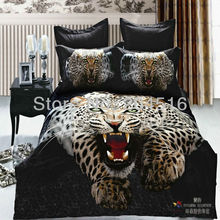 boys unique gift animal printed bedding set 3d Queen size Snow leopard bedclothes 100 Cotton bed Linen bedcover black sheet sets(China (Mainland))