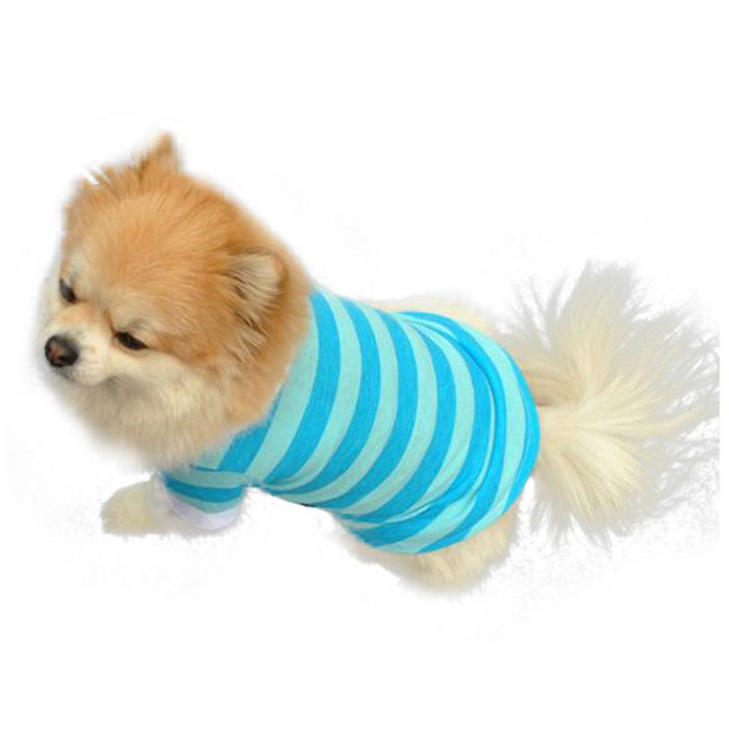 New Arrival 2015 Cute Puppy Dog T Shirt Clothes Lapel Stripe Cotton Pet Dog Clothing Jacket Hot 1 Pcs(China (Mainland))