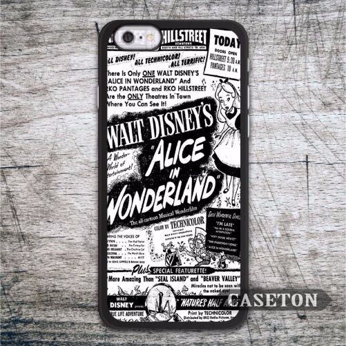 Alice In Wonderland Black White Case For iPhone 7 6 6s Plus 5 5s SE 5c 4 4s and For iPod 5 Classic Retro Vintage Phone Cover