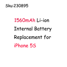 100% Brand New & High Mobile Phone Battey New 1560mAh Li-ion Internal Battery Replacement for iPhone 5S Rechargeable Battery(Hong Kong)