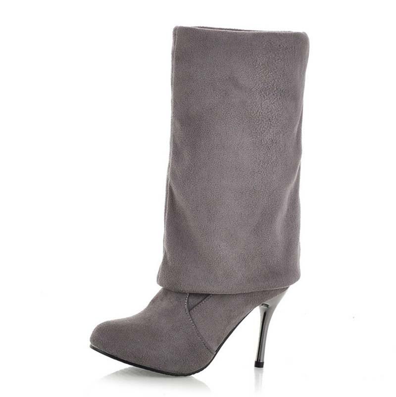 Black, brown, gray Round Toe Thin Heels Knee-High Boots New Flock Fashion sexy warm winter snow boots 10cm Nightclubs  <br><br>Aliexpress