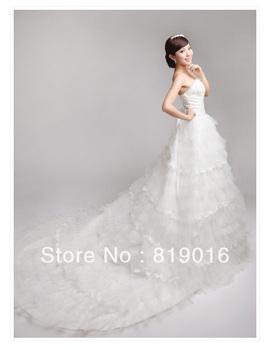 2013 winter princess royal wedding dress bandage tube top princess big train wedding dress lace western wedding dresses 085