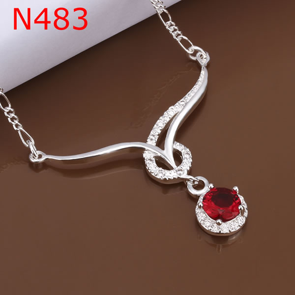 Necklace 925 Silver Necklace 925 Silver 18 Inches Chain Pendant Necklaces Red Crystal Jewelry Free Shipping sakj LN483(China (Mainland))
