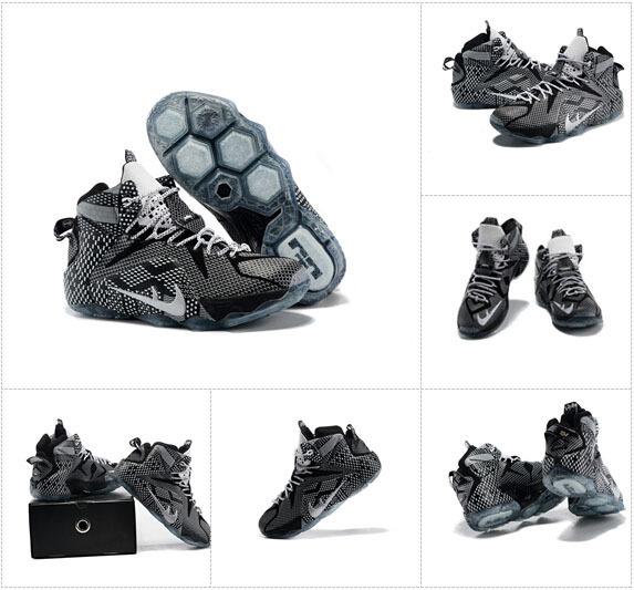 2015 Black 12 XII Mens lebrones basketball shoes james US 7-12(China (Mainland))